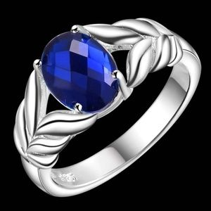 Other - NEW Dark Ocean Blue Opal CZ Silver Plated Ring 925
